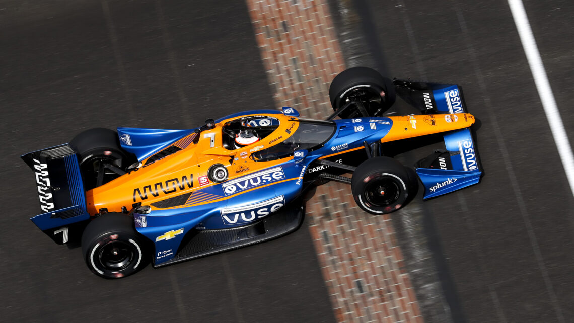 Felix Rosenqvist in the No. 7 Vuse Arrow McLaren SP Chevrolet on the Indianapolis Motor Speedway Road Course